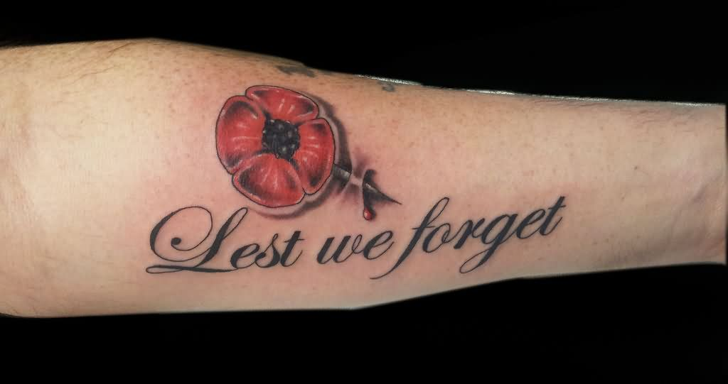 lest we forget poppy tattoo on sleeve. Black Bedroom Furniture Sets. Home Design Ideas