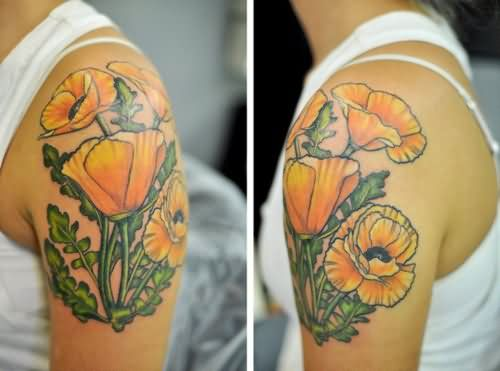 the gallery for yellow poppy flower tattoo. Black Bedroom Furniture Sets. Home Design Ideas