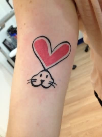 Rabbit tattoo images designs for Pink heart tattoo