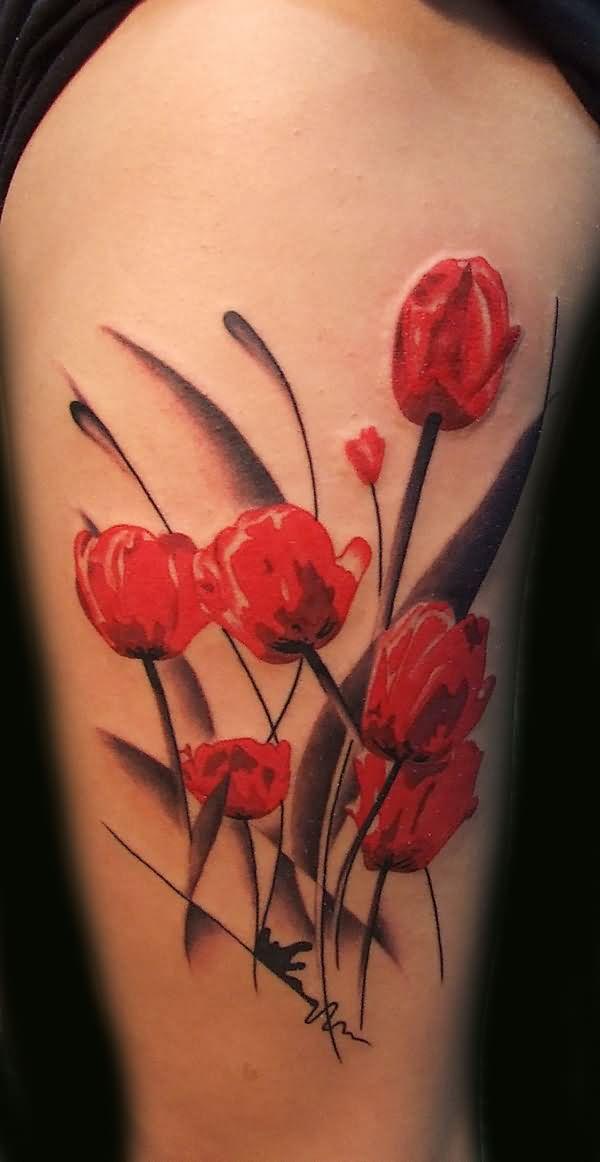 Right Half Sleeve Poppy Flower Tattoo