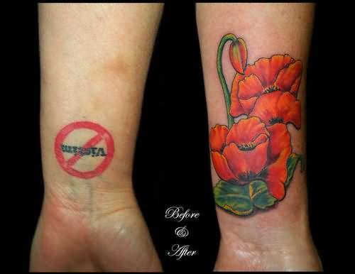 Poppy Half Sleeve Tattoo: Left Wrist Poppy Tattoo