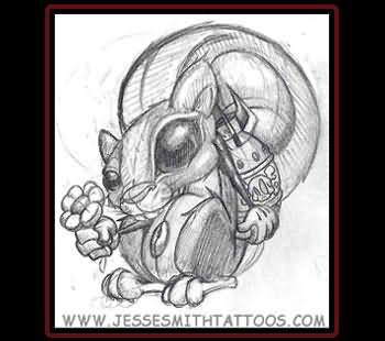 Squirrel tattoo images designs for Lotus flower bomb tattoo