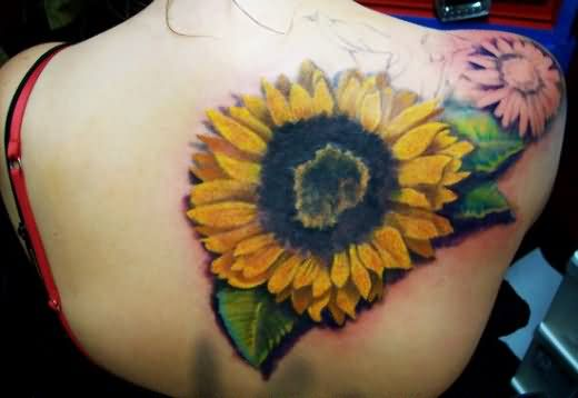 Amazing Girl Back Body Sunflower Tattoo