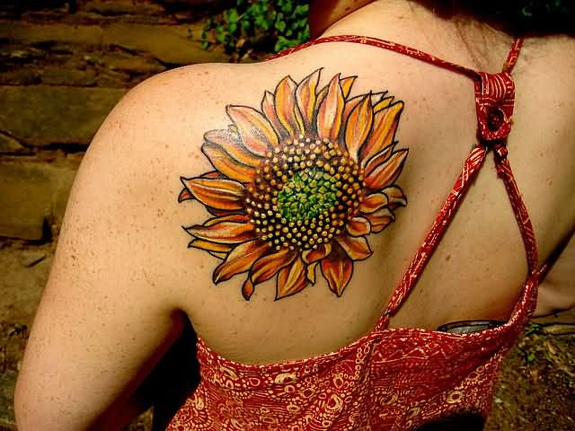 Beautiful Left Back Shoulder Sunflower Tattoo