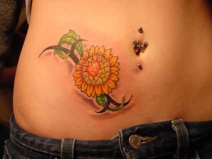Black Tribal And Sunflower Tattoo On Right Hip