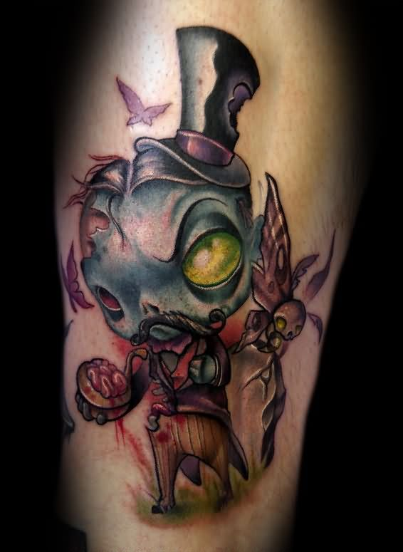 Cartoon zombie tattoo designs