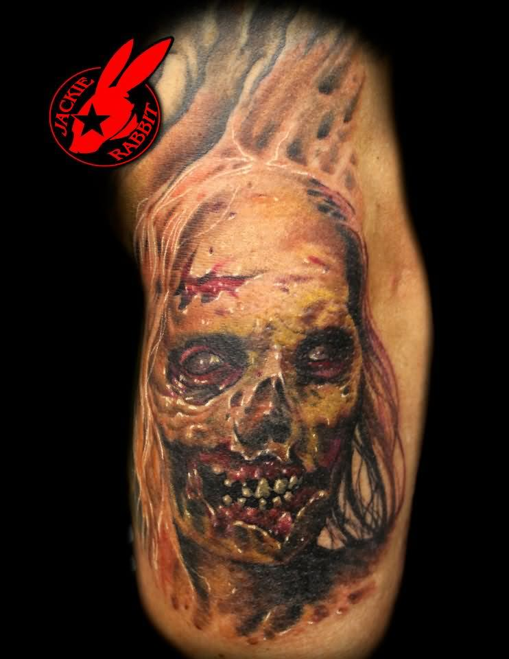 color ink zombie tattoo on side