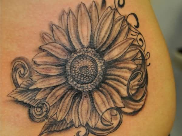 Grey Ink Sunflower Tattoo On Right Thigh