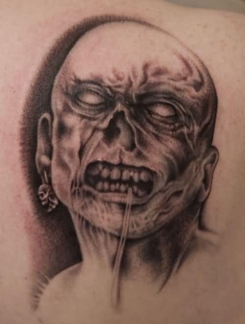 grey ink zombie tattoo design. Black Bedroom Furniture Sets. Home Design Ideas