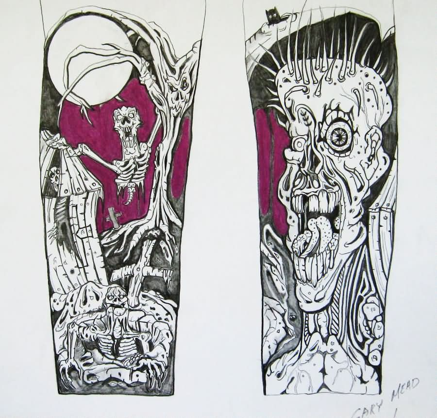 grey ink zombie tattoos designs for half sleeve