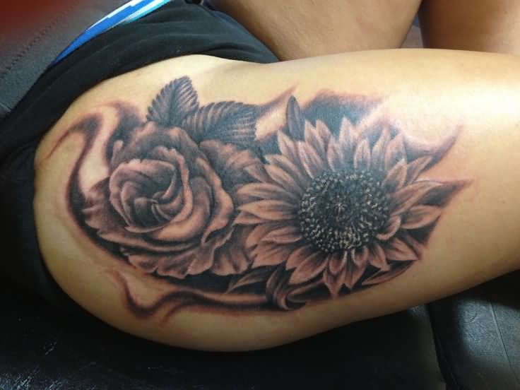 Sunflower tattoo images designs for Sunflower tattoo thigh