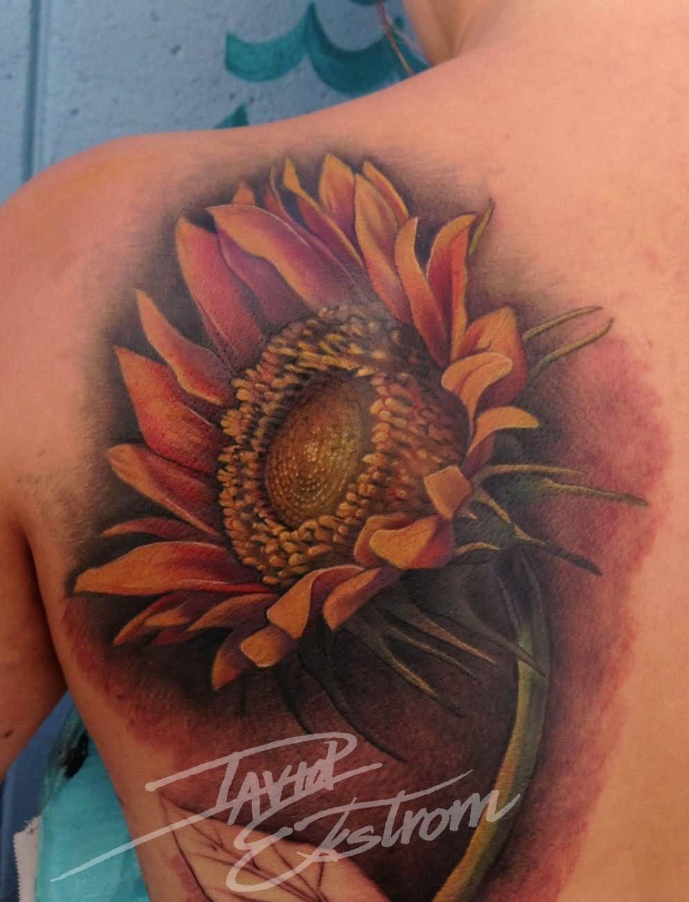 Left Back Shoulder Large Sunflower TattooRealistic Sunflower Tattoo On Shoulder