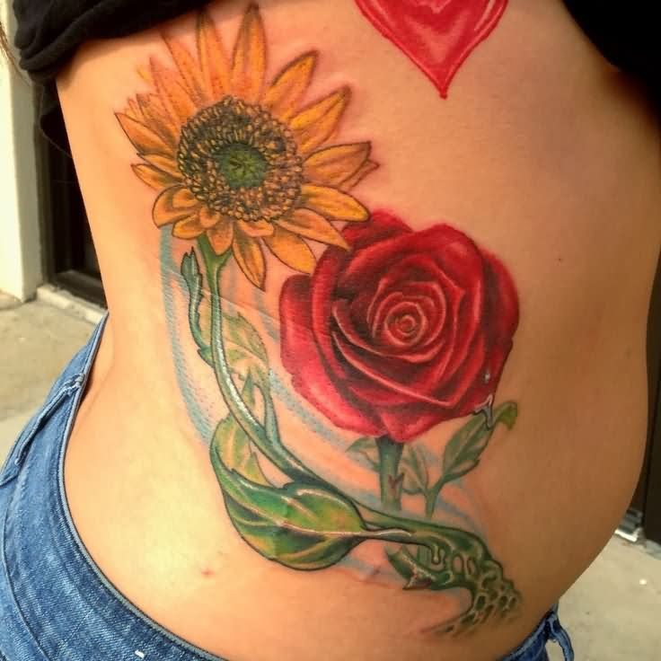 Red rose flower and sunflower tattoo for Red flower tattoo