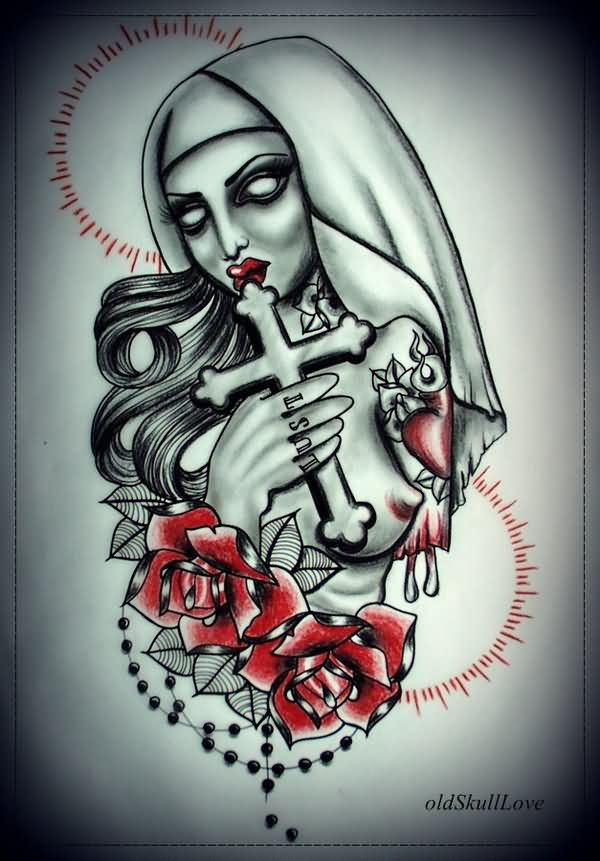 red rose flowers and zombie tattoo design