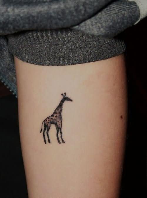 Small Giraffe Tattoo On Leg