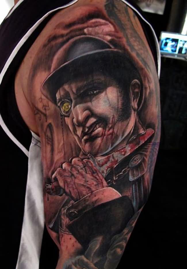 Wonderful Left Half Sleeve Zombie Tattoo
