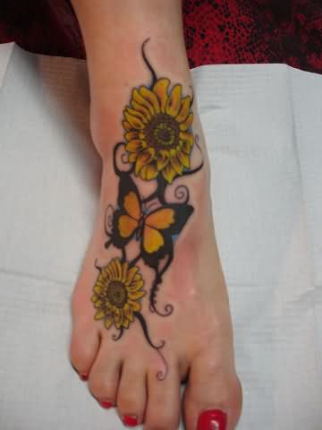 Yellow Butterfly And Sunflowers Tattoo