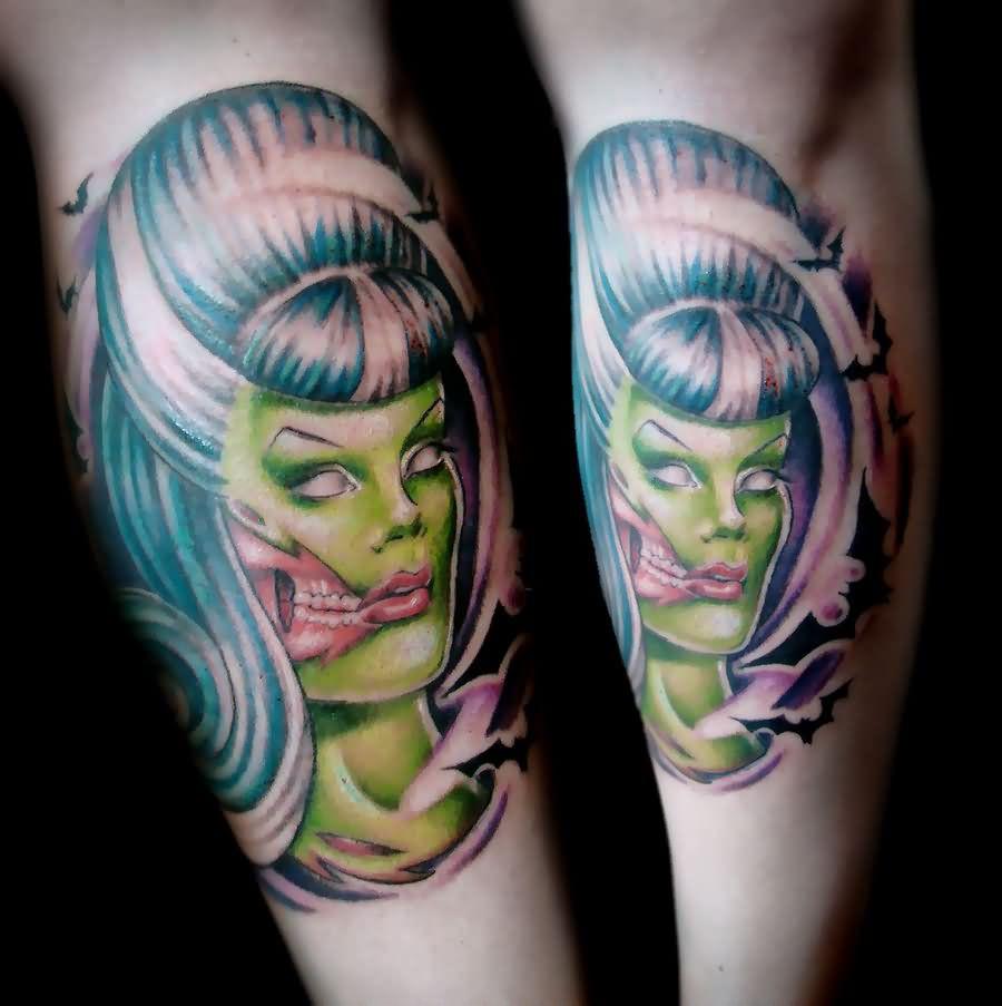 Zombie Girls Portrait Tattoo