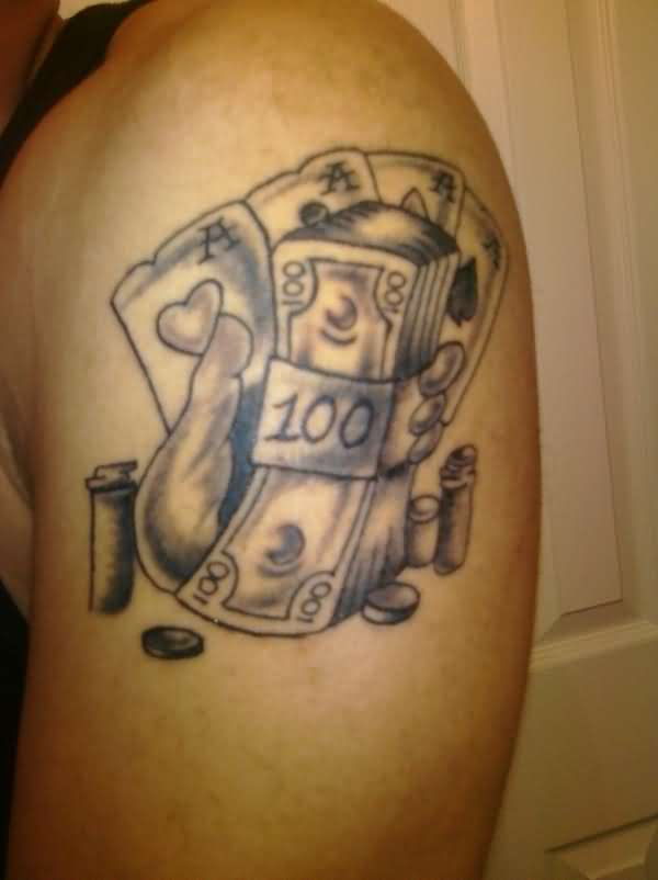 Life Is A Gamble Tattoo On Shoulder