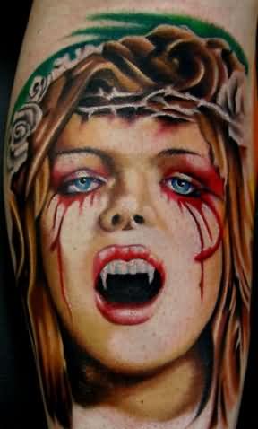 5b39c395b Attractive Colored Vampire Girl Head Tattoo