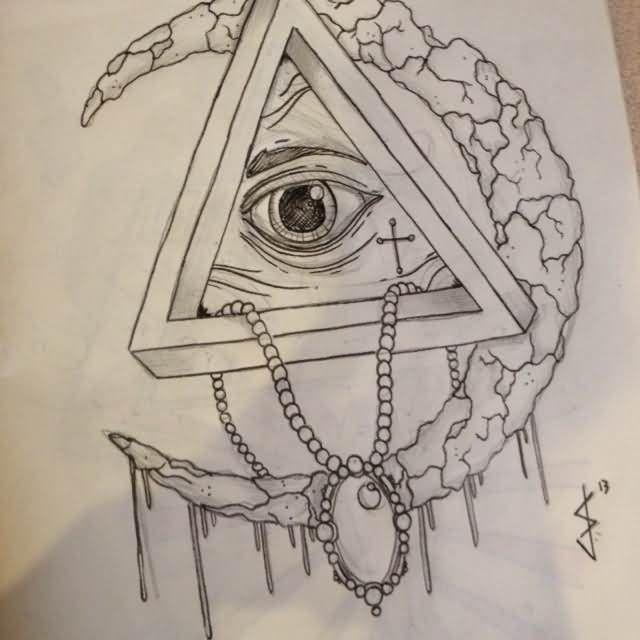 beautiful moon and triangle eye tattoo design