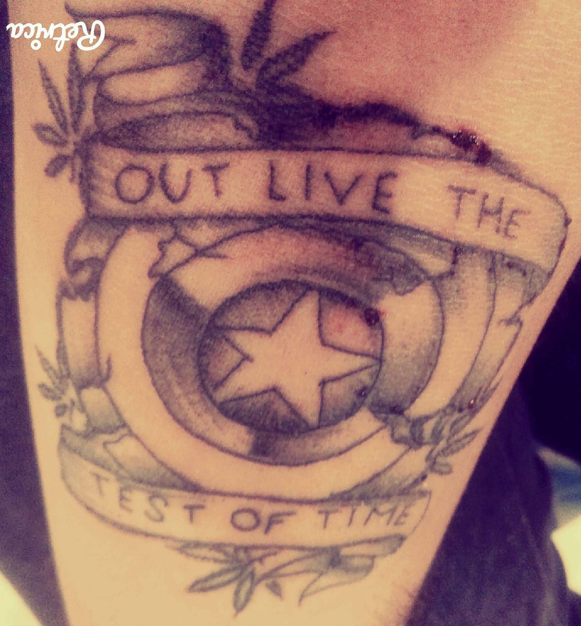 Captain America Sheild With Marijuana Leaves Tattoo On Sleeve