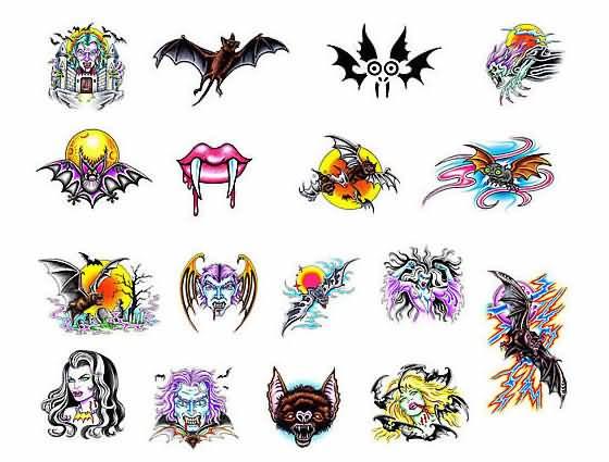 Color Vampire Tattoos Design