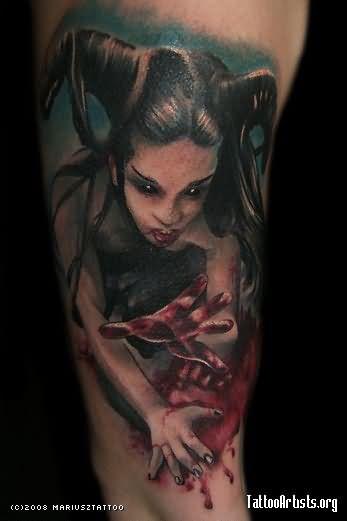 a236b2b58 Colored Vampire Girl Tattoo On Arm Sleeve