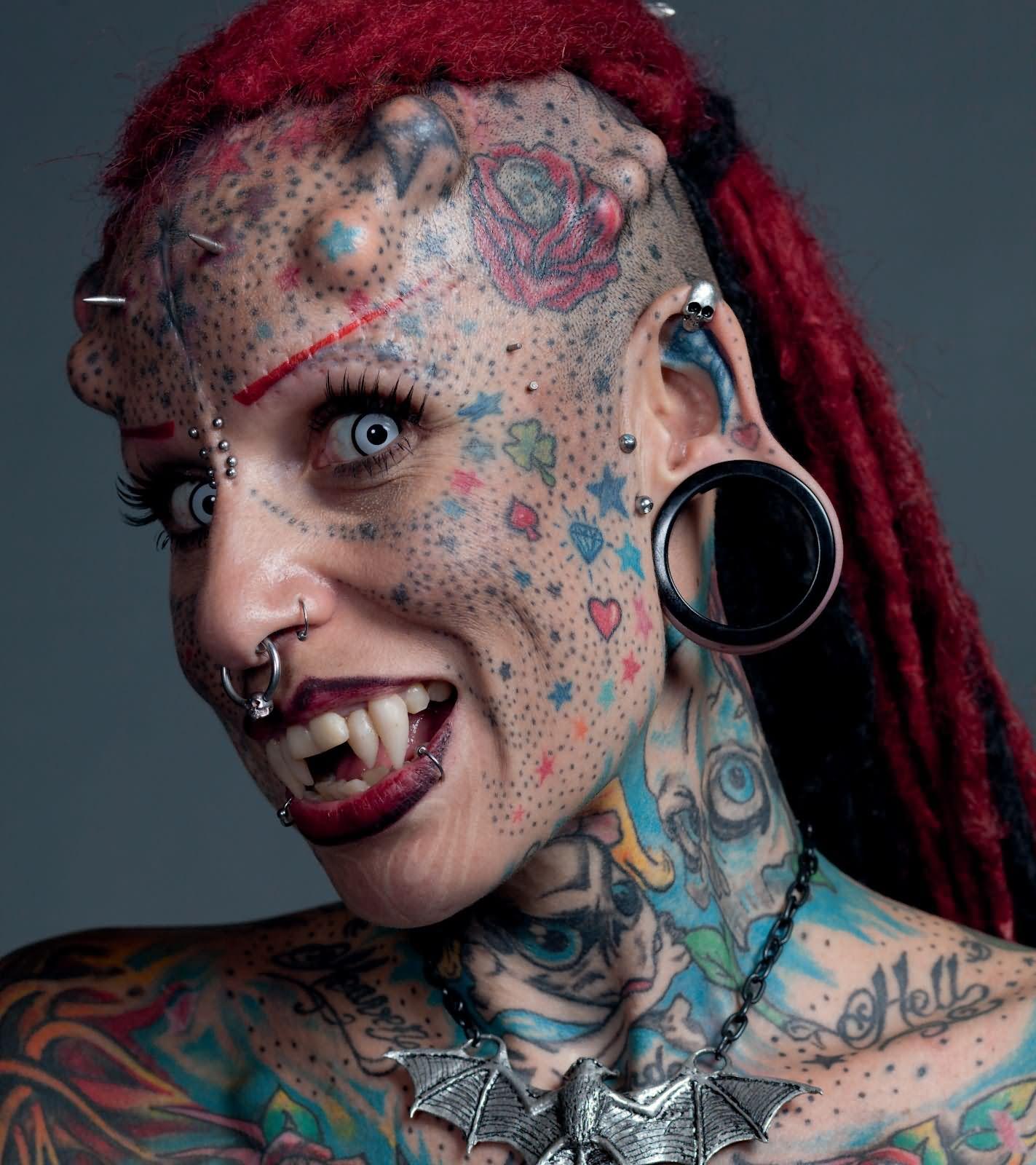 d8bf02b82 Colored Vampire Girl Tattoo