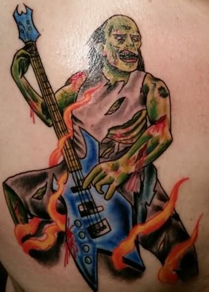 Colored Zombie Bass Player Tattoo