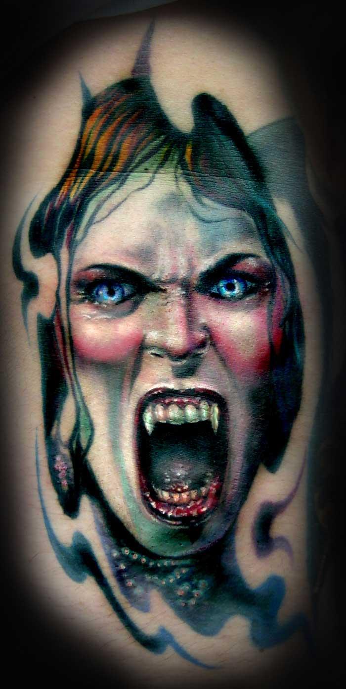 afcb6c578 Colorful Vampire Tattoo Design