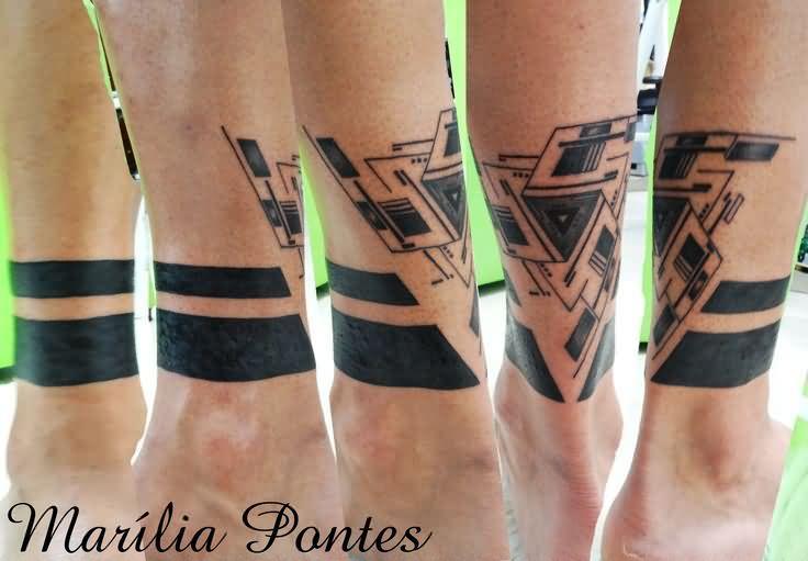 Grey Ink Armband Triangle Tattoo