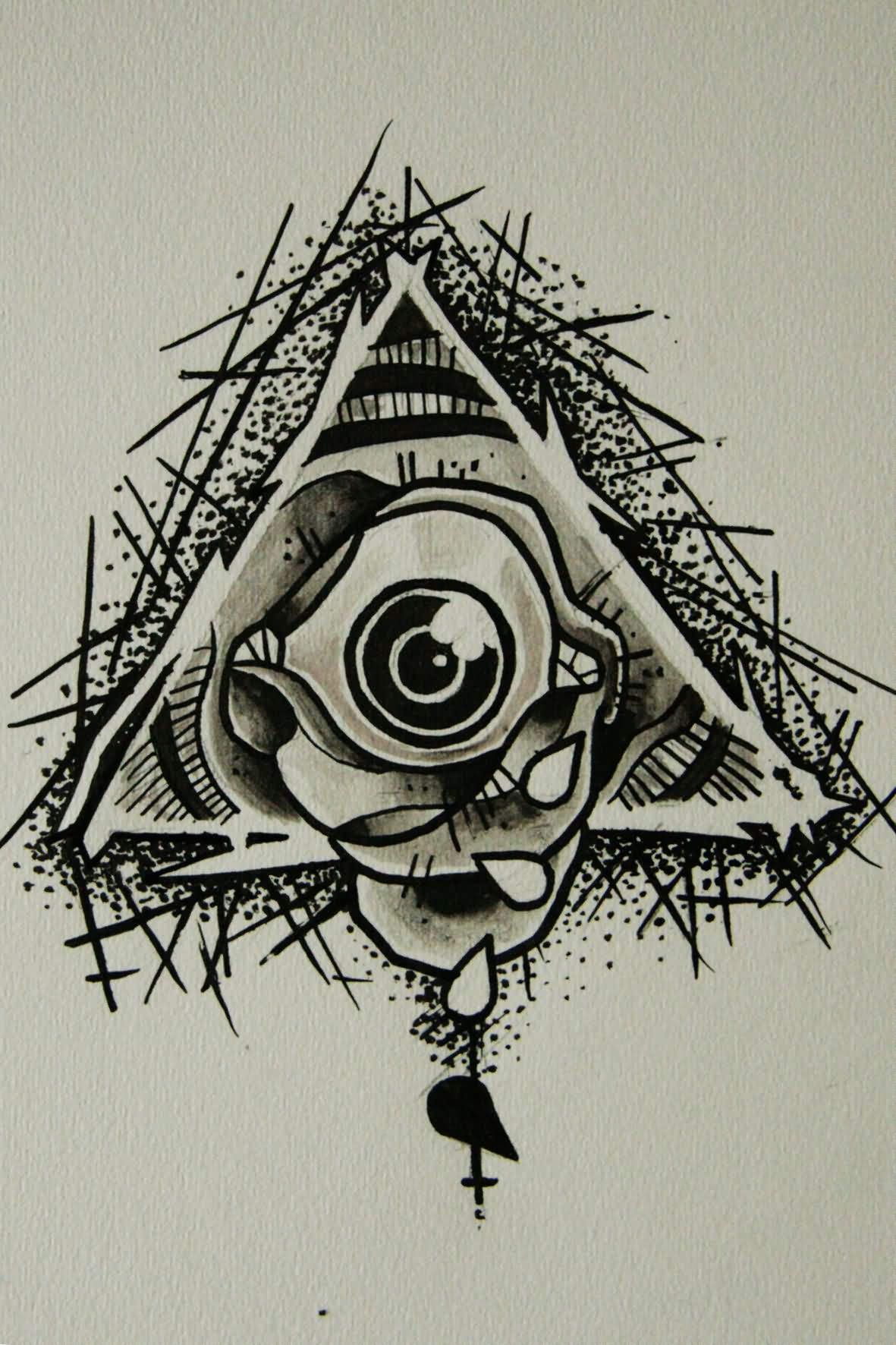 Eye With Triangle Tattoo: Grey Ink Triangle Eye Tattoo Design