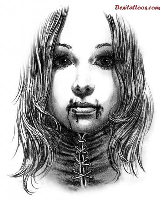 Grey Ink Vampire Tattoo Design