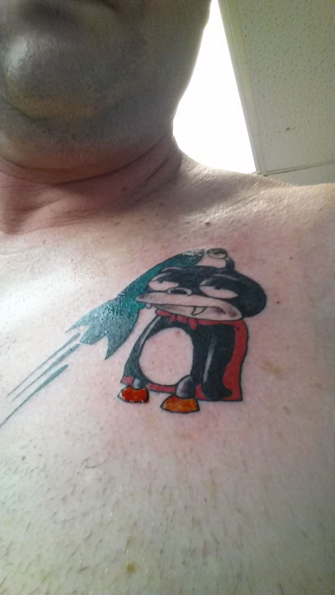 Nibbler Cartoon Tattoo On Man Chest