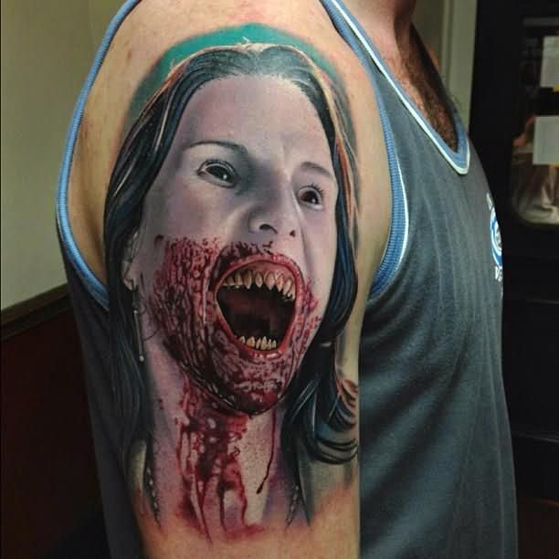 Right Half Sleeve Vampire Girl Tattoo