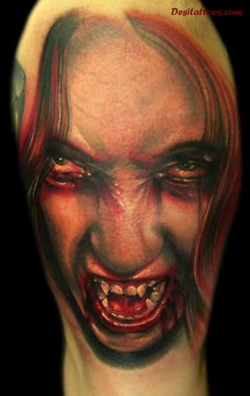 Scary Vampire Head Tattoo