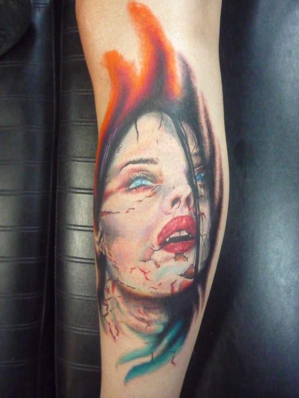 d5f533b1c Vampire Girl Tattoo On Sleeve