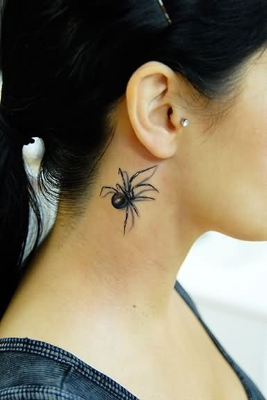 Beautiful girl side neck latrodectus tattoo for Female neck tattoos