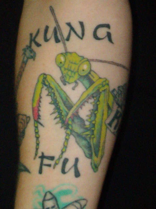 Green Ink Praying Mantis Tattoo