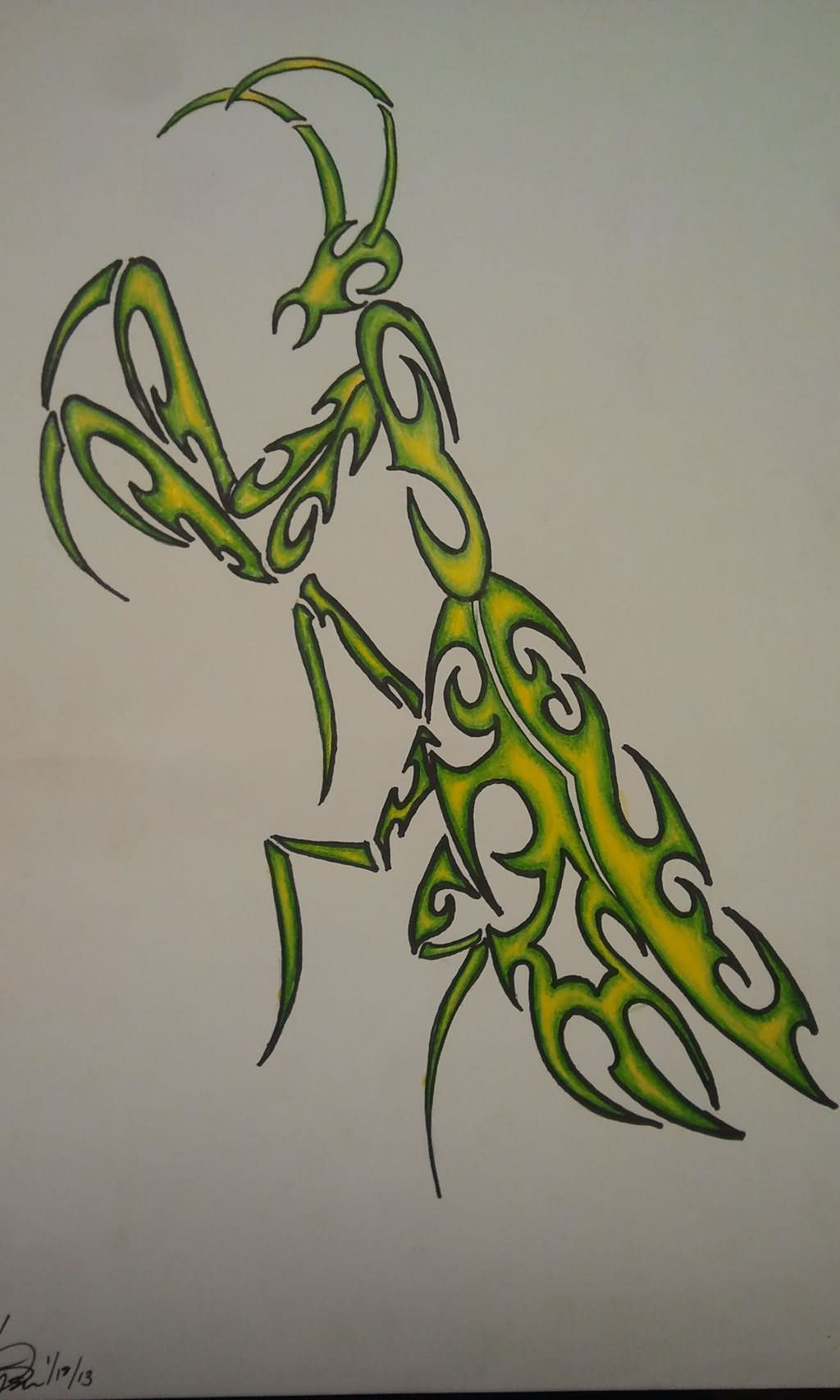 Outline Mantis Tattoo Design
