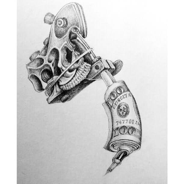 Grey Ink Knuckles Tattoo Machine Design
