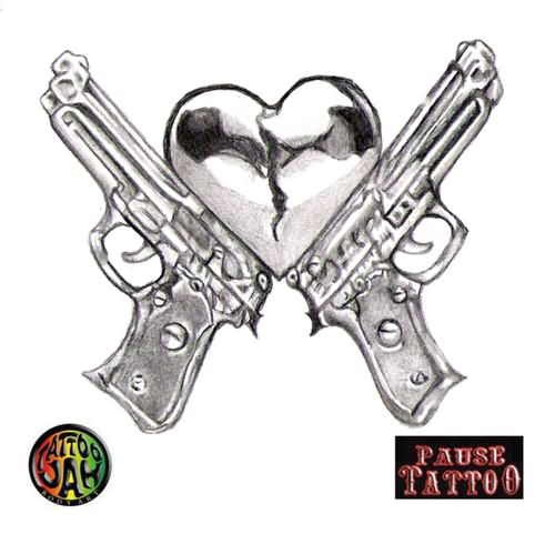 6031dfed9 Lowerback Guns And Heart Weapons Tattoo