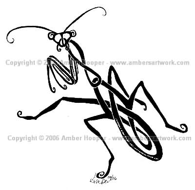 Tribal Mantis Tattoo Design