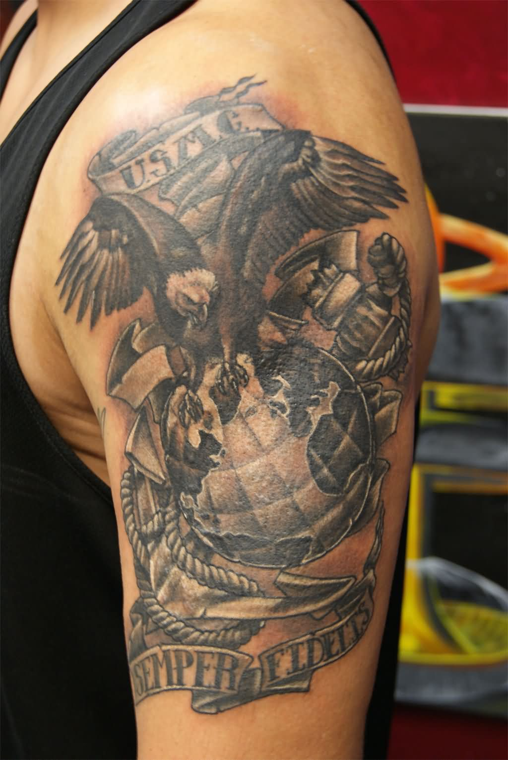 American tattoo images designs for Eagle sleeve tattoo