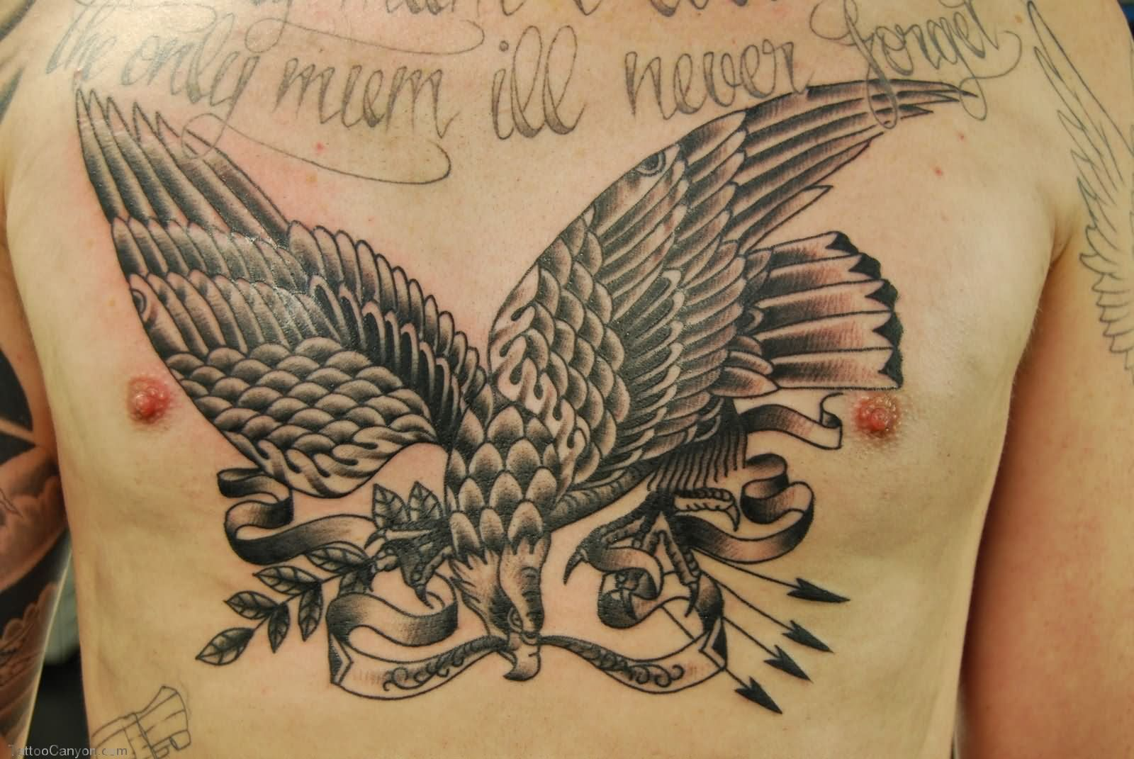 Man Chest American Eagle Tattoo