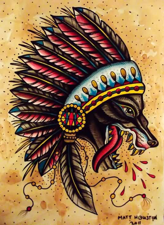 8d66a15c0 Traditional Native American Wolf Head Tattoo Design