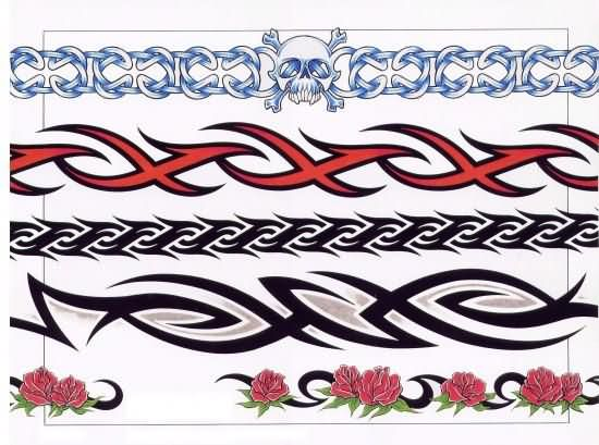 Black Tribal And Red Tribal Band Tattoos Designs