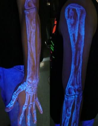 Full Arm Skeleton Black Light Tattoo For Men