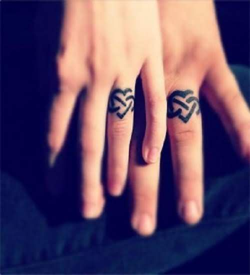 Tribal Heart Wedding Rings Band Tattoo